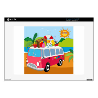 Summer theme with luggages on van laptop skin