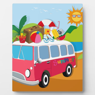 Summer theme with luggages on van plaque