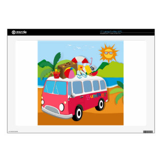 Summer theme with luggages on van skins for laptops