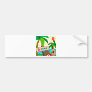 Summer theme with ocean view bumper sticker