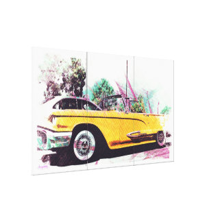 summer thunder Wheels oldschool car Gallery Wrapped Canvas