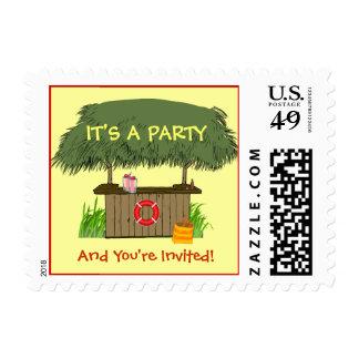 Summer Tiki Hut Bar Beach Party Stamp