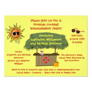Summer Tiki Hut Beach Cocktail Engagement Party 5.5x7.5 Paper Invitation Card