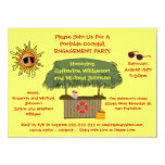 Summer Tiki Hut Beach Cocktail Engagement Party 5.5x7.5 Paper Invitation Card