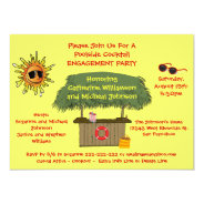 Summer Tiki Hut Beach Cocktail Engagement Party 5.5x7.5 Paper Invitation Card at Zazzle