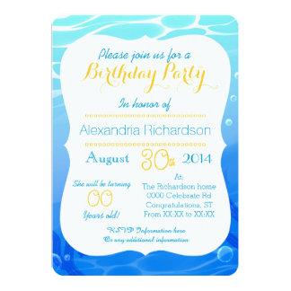 Summer time cute goldfish mermaid birthday party card