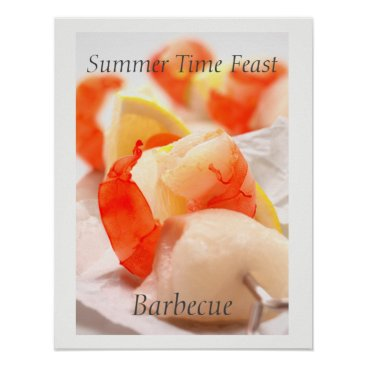 Beach Themed Summer Time Feast. Barbecue Poster