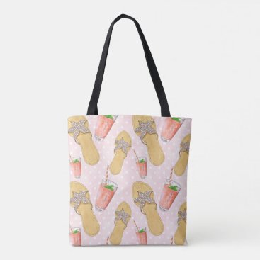 Beach Themed Summer Time Hand-Painted Cocktail Illustration Tote Bag