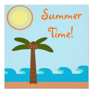 Summer Time Island BBQ Party Invitations