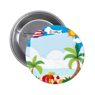 Summer time on the beach 2 inch round button
