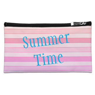 Summer Time Striped Sueded Medium Cosmetic Bag
