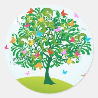 Summer time tree classic round sticker