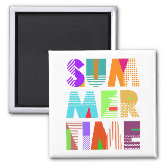 Summer Time Typography Graphic Magnet 2 Inch Square Magnet