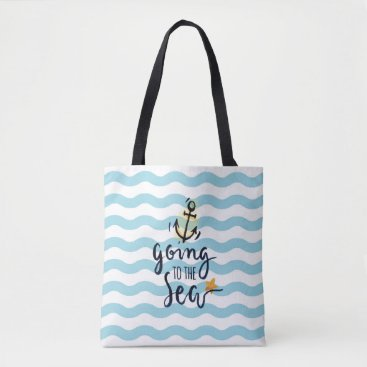 Beach Themed Summer Tote bag with beautiful sea elements