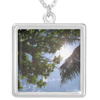 Summer Trees Square Pendant Necklace