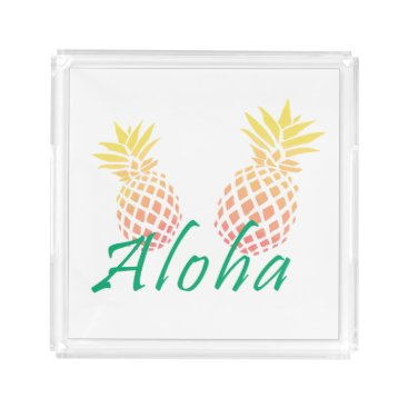 "Beach Themed summer tropical ""aloha"" text, colorful pineapple acrylic tray"