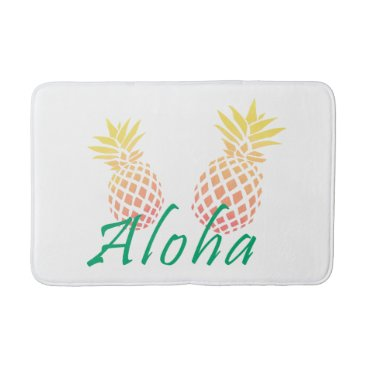 "Beach Themed summer tropical ""aloha"" text, colorful pineapple bath mat"