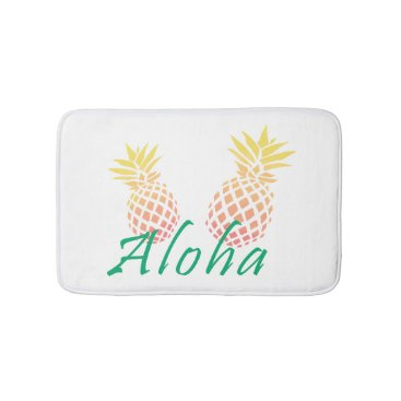 "Beach Themed summer tropical ""aloha"" text, colorful pineapple bathroom mat"