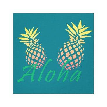 "Beach Themed summer tropical ""aloha"" text, colorful pineapple canvas print"