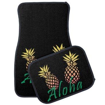"""Beach Themed summer tropical """"aloha"""" text, colorful pineapple car mat"""