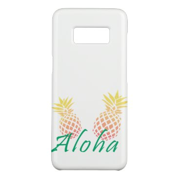 "Beach Themed summer tropical ""aloha"" text, colorful pineapple Case-Mate samsung galaxy s8 case"