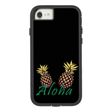 "Beach Themed summer tropical ""aloha"" text, colorful pineapple Case-Mate tough extreme iPhone 7 case"
