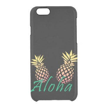 "Beach Themed summer tropical ""aloha"" text, colorful pineapple clear iPhone 6/6S case"