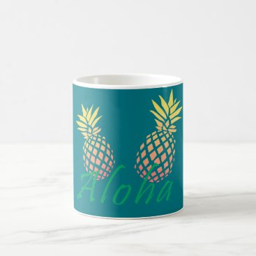 "Beach Themed summer tropical ""aloha"" text, colorful pineapple coffee mug"