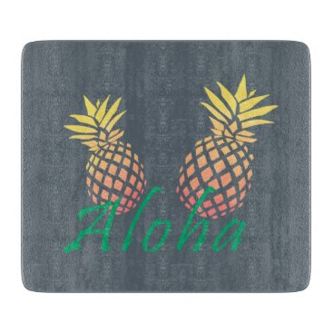 "Beach Themed summer tropical ""aloha"" text, colorful pineapple cutting board"