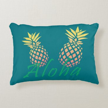 "Beach Themed summer tropical ""aloha"" text, colorful pineapple decorative pillow"
