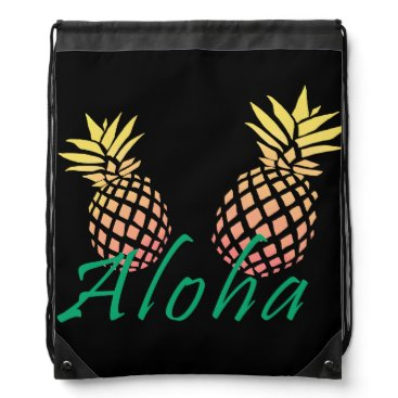"""Beach Themed summer tropical """"aloha"""" text, colorful pineapple drawstring backpack"""