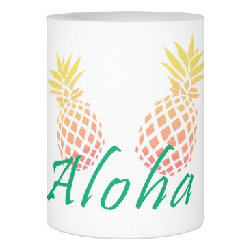 """Beach Themed summer tropical """"aloha"""" text, colorful pineapple flameless candle"""