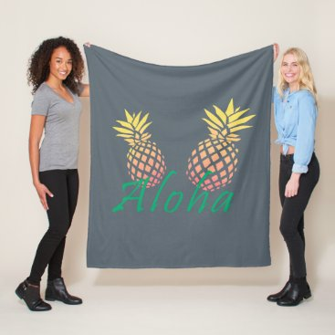 "Beach Themed summer tropical ""aloha"" text, colorful pineapple fleece blanket"