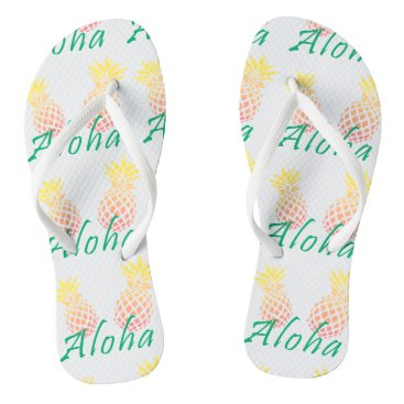 "Beach Themed summer tropical ""aloha"" text, colorful pineapple flip flops"