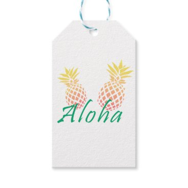 """Beach Themed summer tropical """"aloha"""" text, colorful pineapple gift tags"""