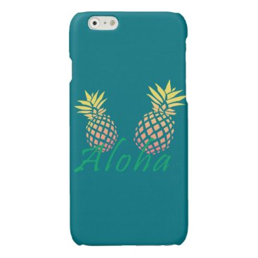 "Beach Themed summer tropical ""aloha"" text, colorful pineapple glossy iPhone 6 case"