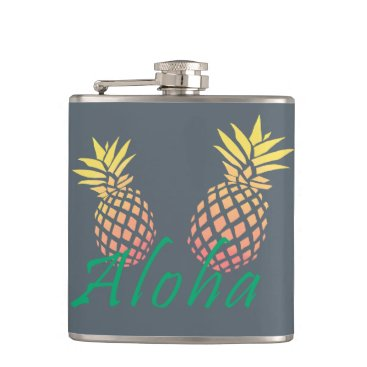 "Beach Themed summer tropical ""aloha"" text, colorful pineapple hip flask"