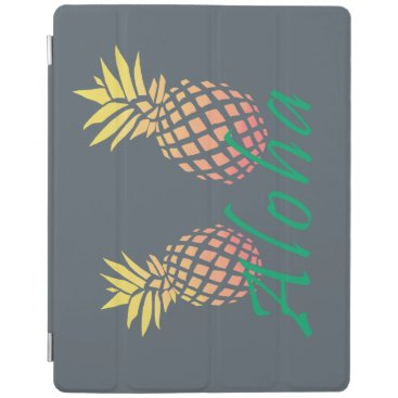 "Beach Themed summer tropical ""aloha"" text, colorful pineapple iPad smart cover"