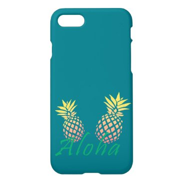 "Beach Themed summer tropical ""aloha"" text, colorful pineapple iPhone 7 case"