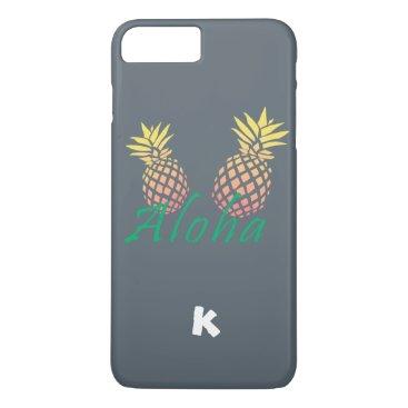 "Beach Themed summer tropical ""aloha"" text, colorful pineapple iPhone 7 plus case"