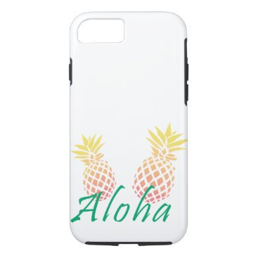 "Beach Themed summer tropical ""aloha"" text, colorful pineapple iPhone 8/7 case"