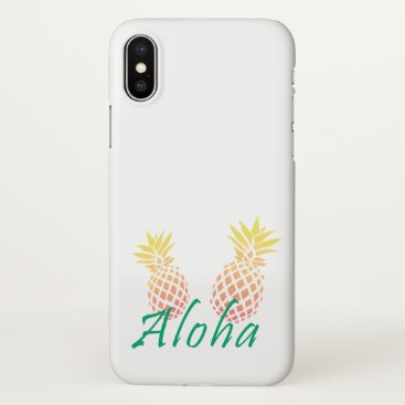 "Beach Themed summer tropical ""aloha"" text, colorful pineapple iPhone x case"