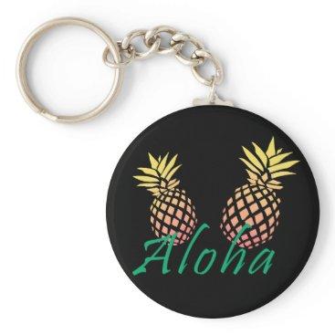 """Beach Themed summer tropical """"aloha"""" text, colorful pineapple keychain"""
