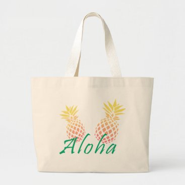 "Beach Themed summer tropical ""aloha"" text, colorful pineapple large tote bag"