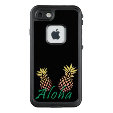 "Beach Themed summer tropical ""aloha"" text, colorful pineapple LifeProof FRĒ iPhone 7 case"