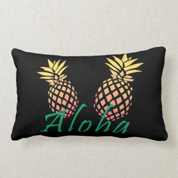 "Beach Themed summer tropical ""aloha"" text, colorful pineapple lumbar pillow"