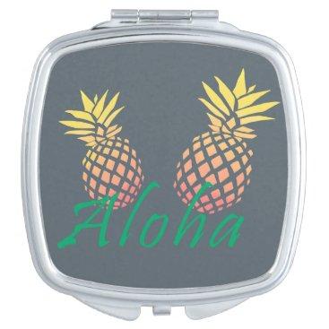 "Beach Themed summer tropical ""aloha"" text, colorful pineapple makeup mirror"