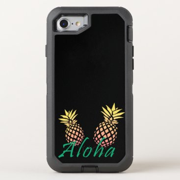 "Beach Themed summer tropical ""aloha"" text, colorful pineapple OtterBox defender iPhone 7 case"