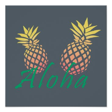 "Beach Themed summer tropical ""aloha"" text, colorful pineapple poster"