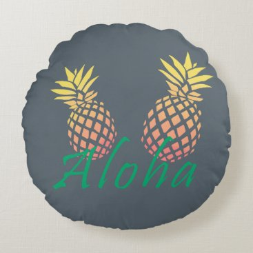 "Beach Themed summer tropical ""aloha"" text, colorful pineapple round pillow"